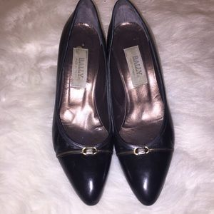 Bally Black Leather High Heel Pumps Size 9.5